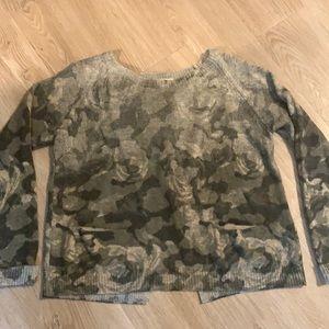 Cream split back flower cammo sweater